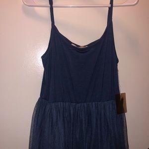 Blue Knee Length Midi Tulle Dress